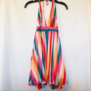 Essue - Sexy low cut bright striped cockta…